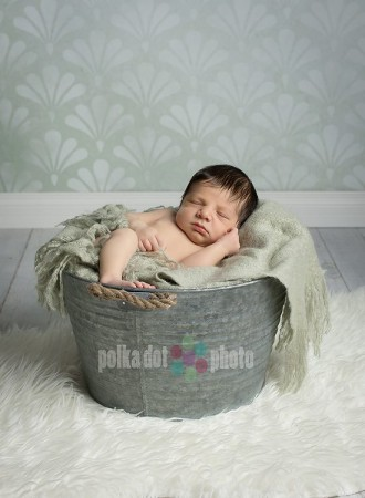 Shells Green Backdrop with Newborn