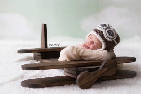 Newborn Aviator Photo Session with Prop Airplane Sky Backdrop