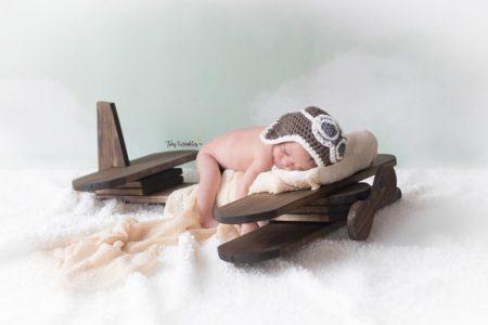 Newborn Aviator Photo Session with Sky Backdrop