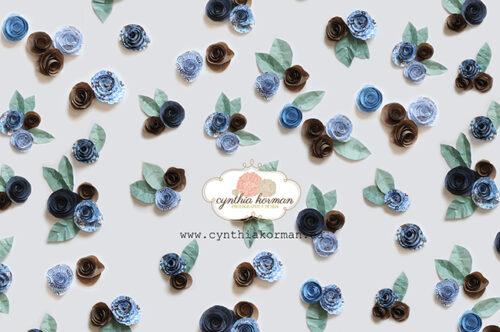 Paper Flowers Blue Brown