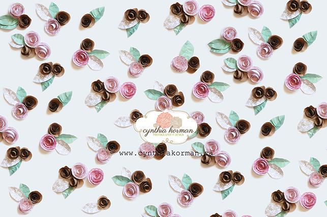 Paper Flowers Pink Brown