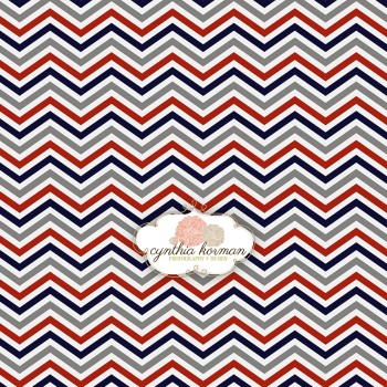 Chevron Red, Navy & Grey