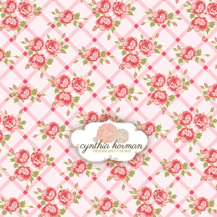 Floral Pink  On  Pink Stripes
