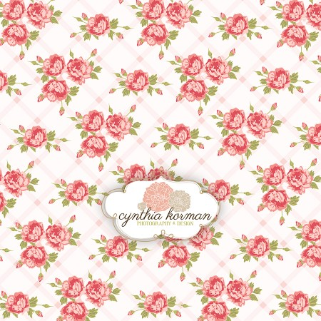 Floral Pink  On Pale Pink Stripes