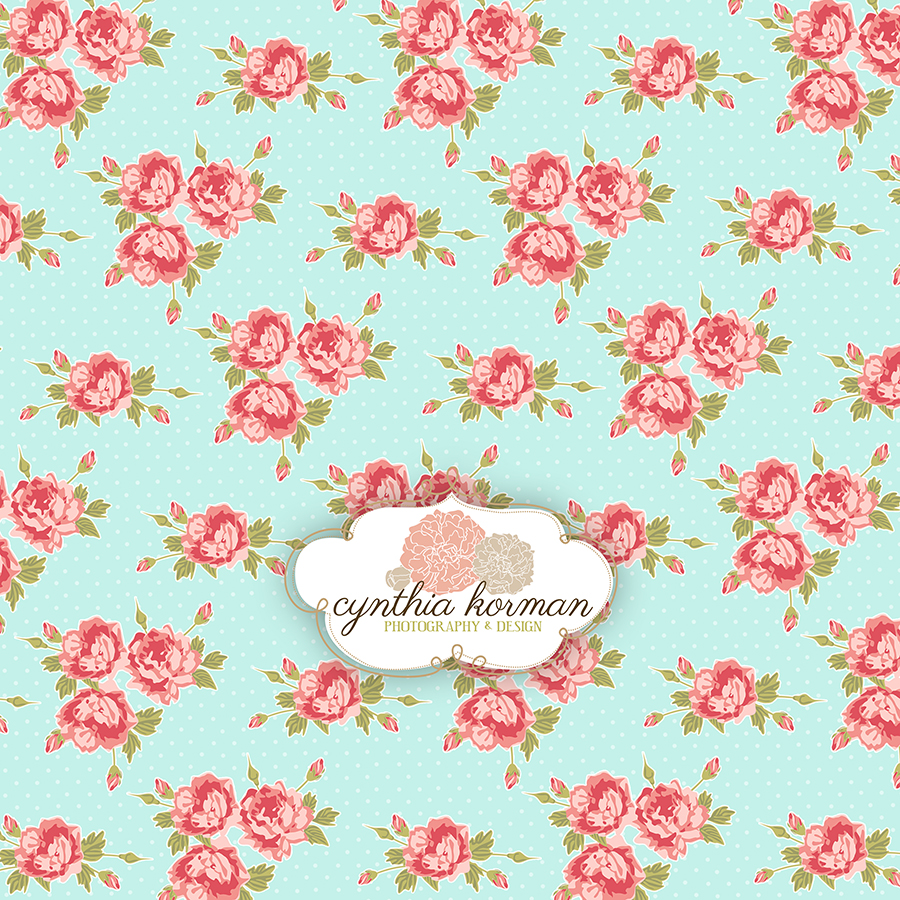 Floral Pink On Green Background