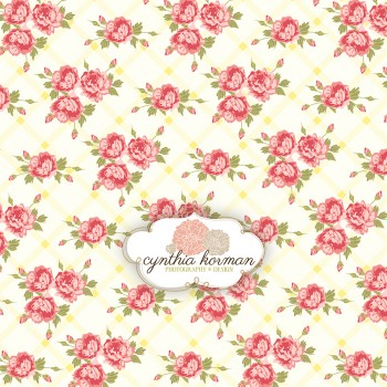 Floral Pink On Yellow Stripes