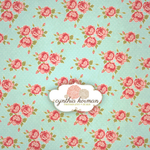 Vintage Pink Floral On  Green Background