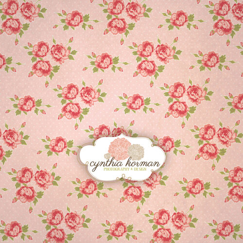 Vintage Pink Floral On  Pink Background