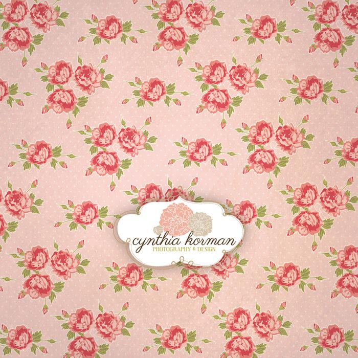 Vintage Pink Floral On  Pink Background
