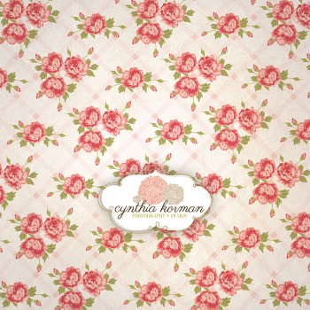 Vintage Pink Floral On  Pink Stripes