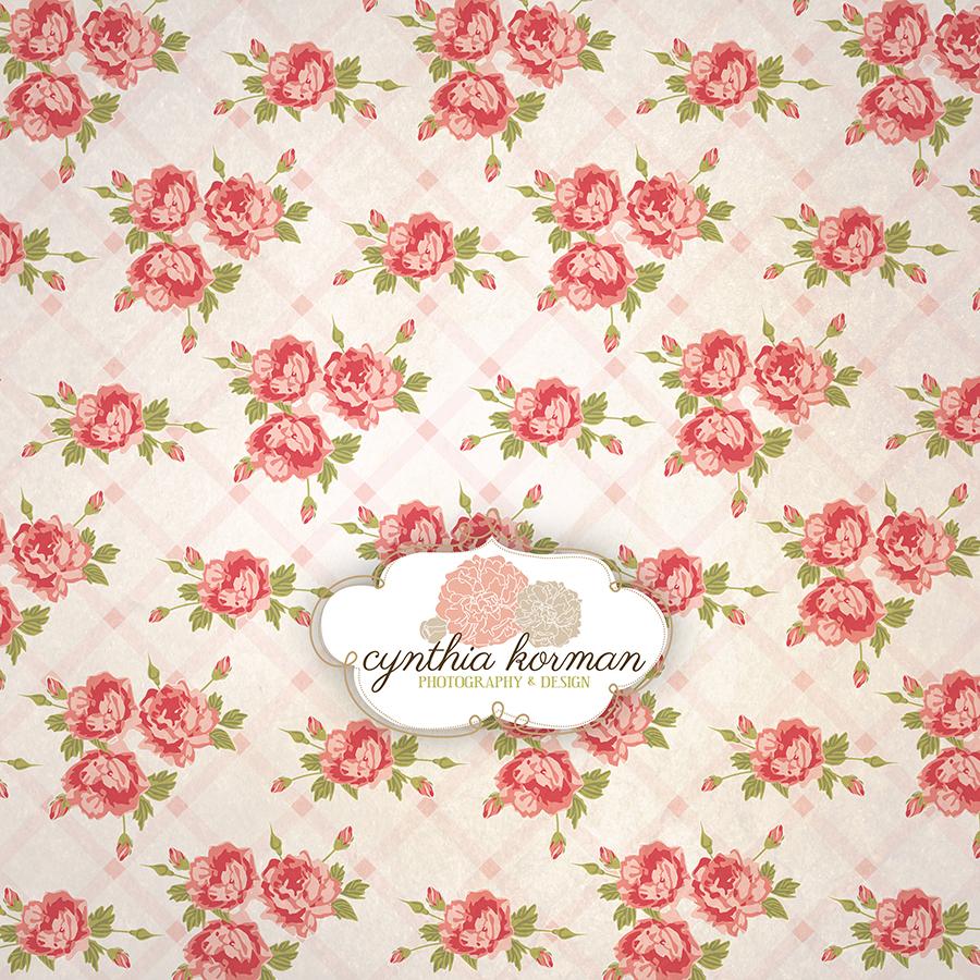 Vintage Pink Floral On  Pink Stripes