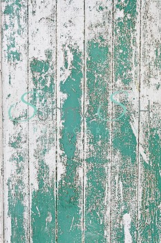 Weathered Green & White Wooden Planks