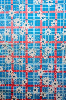 Red & Blue Squares with Flowers