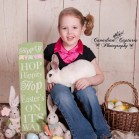 Whitewash Boards Backdrop with Young Girl holding a bunny