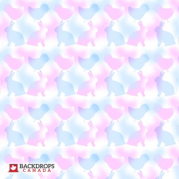 Pink & Blue Bunnies and Chicks Photography Backdrop