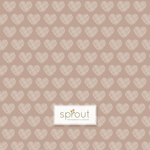 Crosshatch Hearts Taupe Photography Backdrop