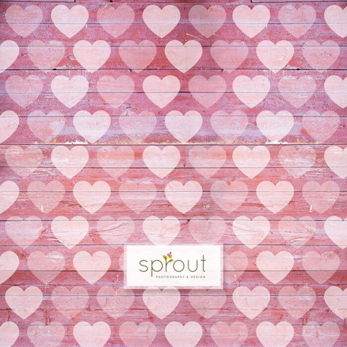 Faded Hearts on Wooden Pink Photography Backdrop
