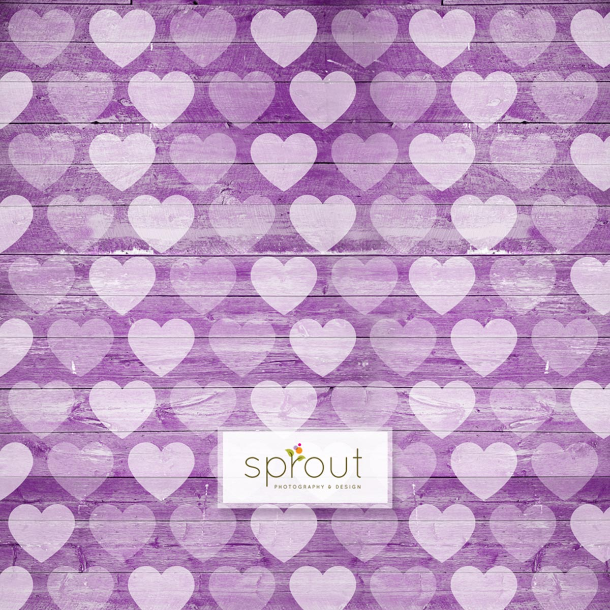 Faded Hearts on Wooden Purple Photography Backdrop