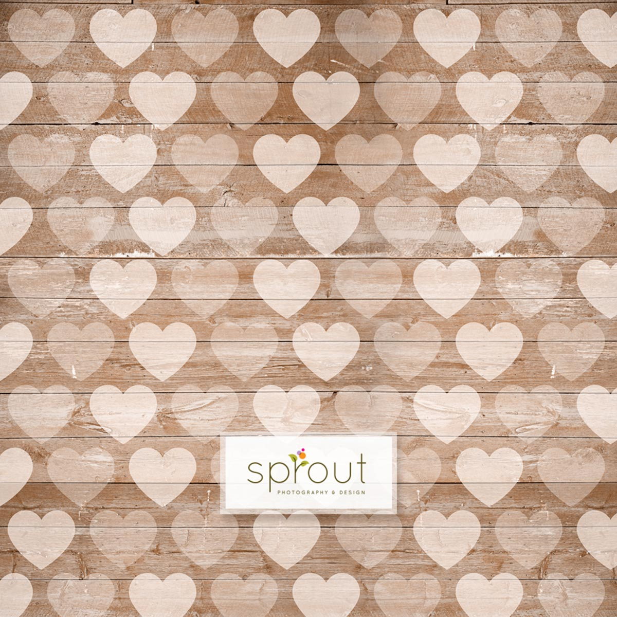 Faded Hearts on Wooden Taupe Photography Backdrop