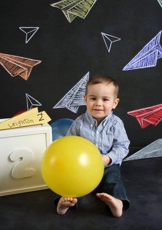 Chalkboard Airplanes with boy