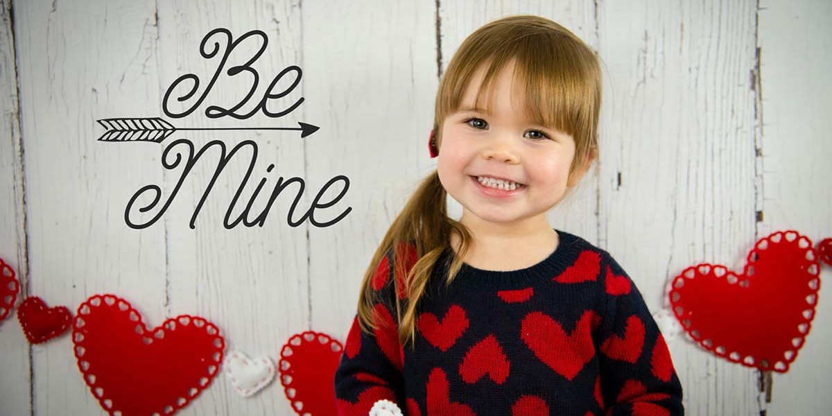 Valentines Day Be Mine Backdrop with Model
