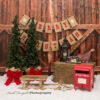 Christmas themed Photography Backdrop set up with sleigh & santa mailbox