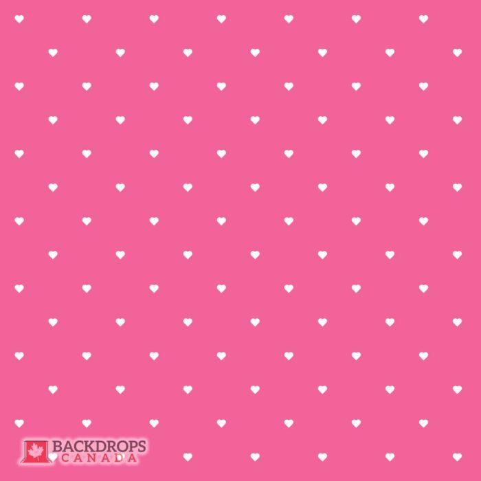 Polka Dot Hearts on Pink Photography Backdrop
