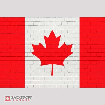 Canada Flag on White Brick