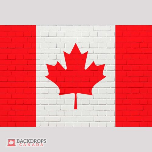 Canada Flag on White Brick Photography Backdrop