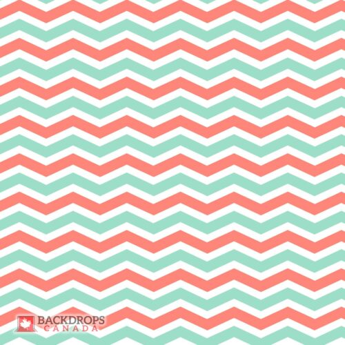 Coral Mint Chevron Photography Backdrop