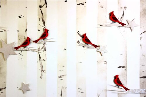 Paper Cardinals on Birch Trees Photography Backdrop