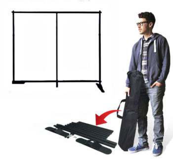 Backdrop Stand shown disassembled & assembled with case