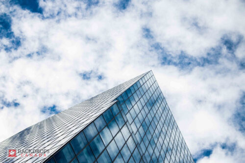 Looking up at the sky & corporate building Photography Backdrop