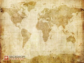 Vintage Aged Map Photography Backdrop