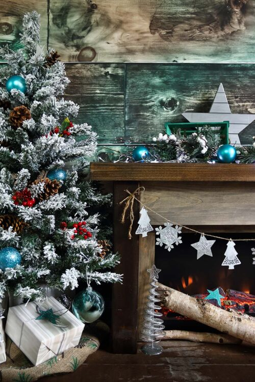 Rustic Fireplace Photography Backdrop