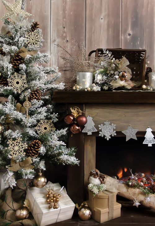 Rustic Fireplace White Photography Backdrop