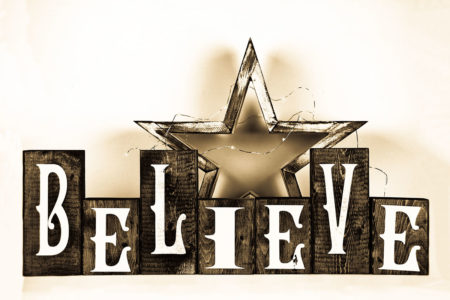 Believe Blocks Gold Photography Backdrop