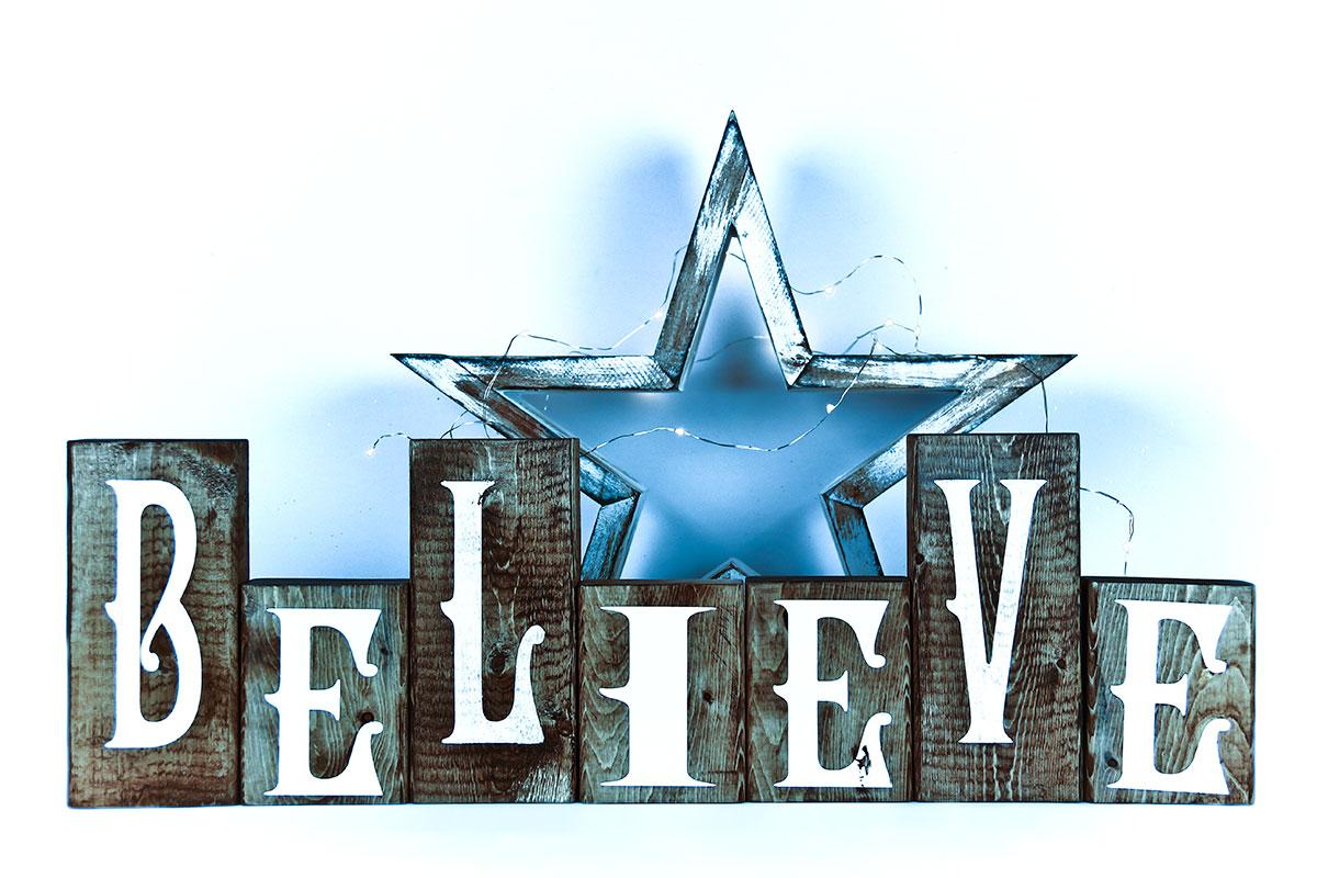 Believe Blocks Blue Photography Backdrop