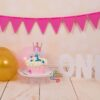 First Birthday Photoshoot set up featuring Gold Bokeh Backdrop