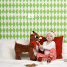Green Diamonds Photography Backdrop featuring little girl and Rudolph reindeer