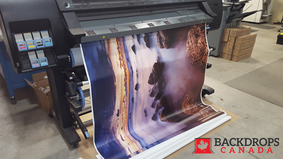Wide Format Printer printing vinyl backdrop