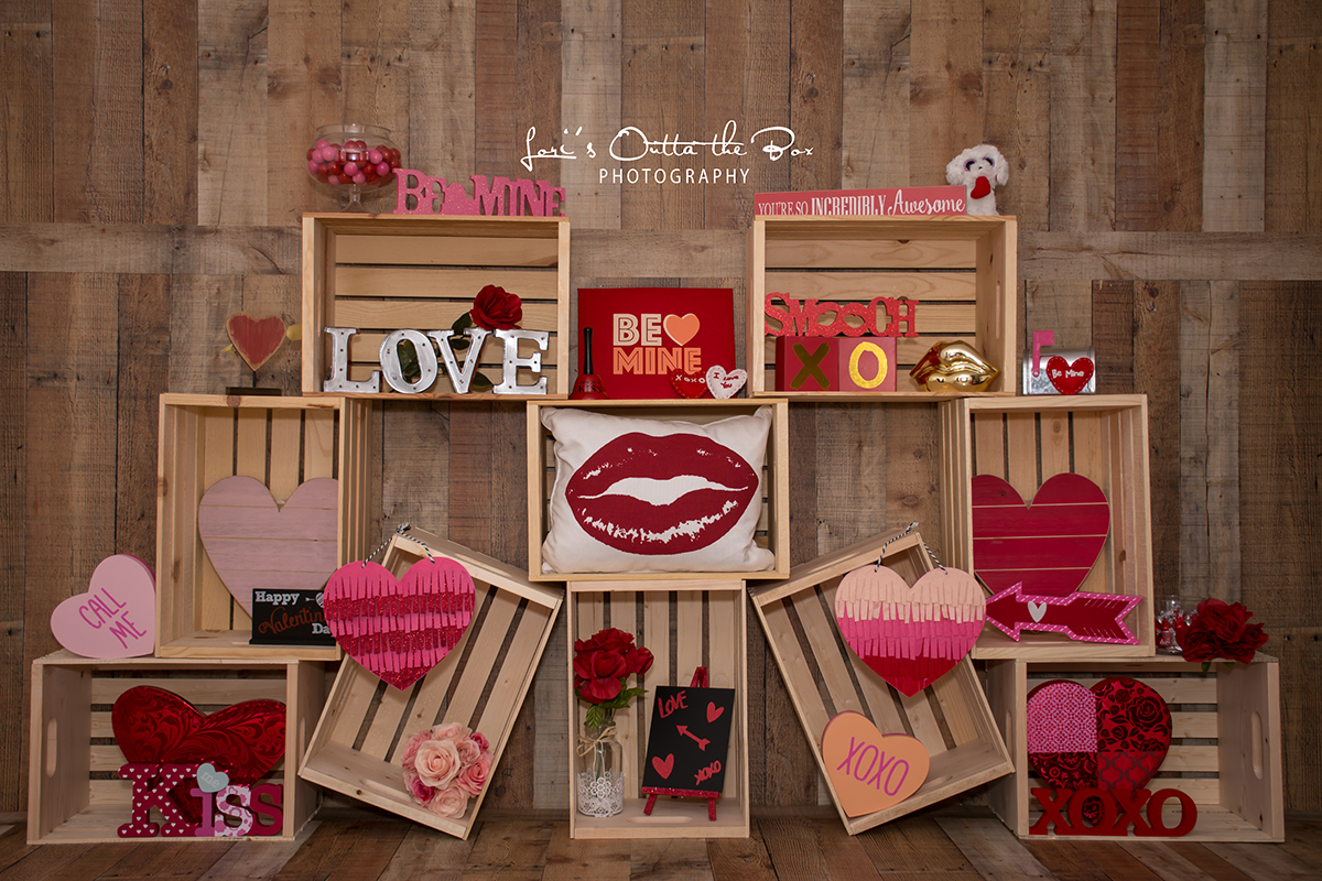 Valentine's Day Crates Photography Backdrop