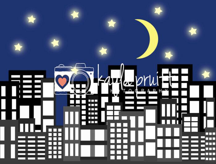 City Night Sky Photography Backdrop