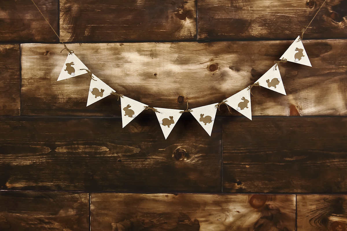 Easter Banner on Dark Wood Photography Backdrop