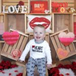 Valentine's Day Crates Photography Backdrop with Model