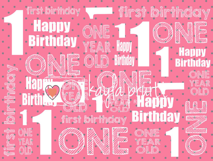 First Birthday Pink Photography Backdrop