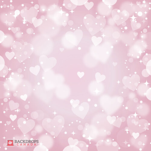 Bokeh Pink Heart Photography Backdrop