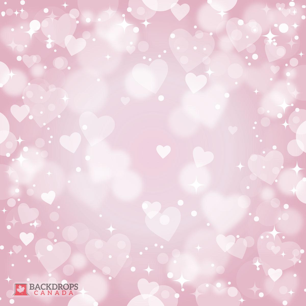 Bokeh Pink Heart Photography Backdrop