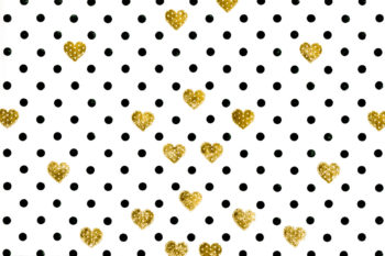 Grunge Dots Gold Hearts