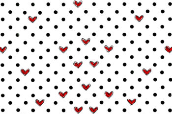 Grunge Dots Red Scribble Hearts